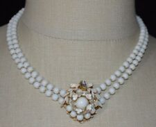Vintage Gold Tone White Milk Glass Beaded Enamel Flower Rhinestone Necklace
