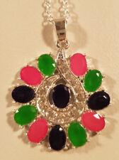 925 Silber platiert Smaragd Rubin Sapphire imitation eünderschöne kette.