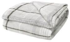 "Grey Check Soft Fleecy Blanket Cosy Warm Fleece Bed Sofa Throwover 51"" X 71"""