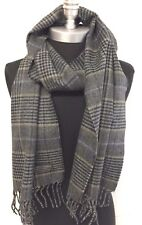 NEW Men 100% CASHMERE SCARF Check Plaid Scotland Soft Warm Wrap Color Gray/Black