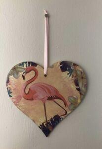 Handmade Wooden Tropical Pink Flamingo Hanging Heart Decoration Plaque Gift Lrg