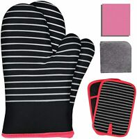 Oven Mitts and Pot Holders 8 PCS Set, 500℉ Heat Resistant Cotton Kitchen (Black)
