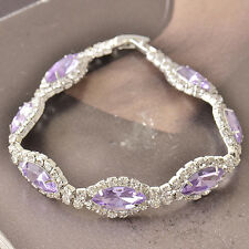 Around Purple Cubic Zirconia 9K White Gold Filled Womens Bracelet F5124