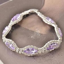 Around Purple Cubic Zirconia 9K White Gold Filled Womens Bracelet F5124