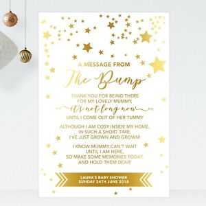 Baby Shower Sign A Message From The Bump Poem In Gold Effect Stars (ST20)