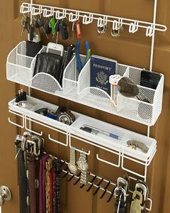 Longstem Men's Tie Rack Belt Accessory Closet Hanging Organizer Valet White