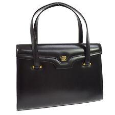 Authentic GIVENCHY Logos Hand Bag Purse Black Leather Japan Vintage GHW AK15442b