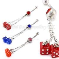 Crystal & Acrylic Dice Chain dangle belly bar 14 G (1.6mm x 10mm) IN 3 COLOURS