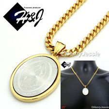 """20""""Stainless Steel 4.5mm Gold Cuban Curb Chain Necklace VIRGIN MARY Pendant*SP26"""