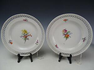 PAIR of Antique KPM German Hand Painted Porcelain Reticulated Rim Plates c1800