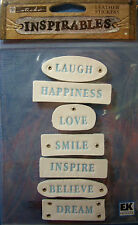 NEW 7 pc SENTIMENTS Laugh Believe Dream  INSPIRABLES STICKO Leather Stickers