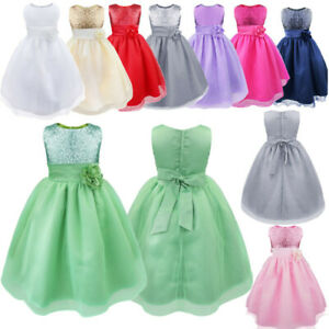 Flower Girls Bridesmaid Dress Sequin Wedding Pageant Sleeveless Party Gown Prom