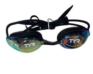 TYR Performance Blackhawk Racing Mirrored Goggle Mask - Blue Gold Rainbow lens