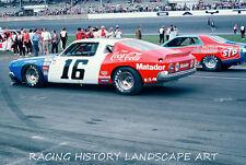 1975 DAYTONA 500 8x10 PHOTO #16 BOBBY ALLISON PENSKI MATADORE #43 RICHARD PETTY