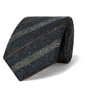 Drake's Navy Striped Slub Silk Blend Classic Men's Tie $175 A5/177