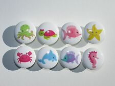 Set of 8 Sea Life Animal Dresser Drawer Knobs Fish Octopus Turtle Starfish