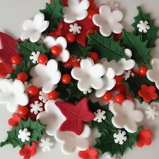 CHRISTMAS CAKE TOPPERS Edible Sugar Paste Flowers Cup Cake Decorations Holly Ivy