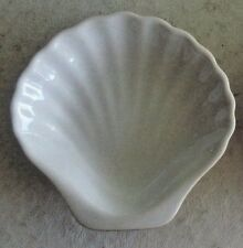 "4 ½"" Porcelain Scallop Shell-Shaped Side Dish, White Interior, Brown Exterior"