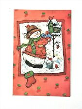 Christmas Card, Snowman and Birdhouse. by Fantus Paper Products