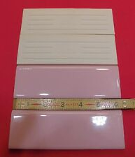"""50 pcs. Vintage & Rare…Glossy Pink 2"""" X 6"""" Bullnose Ceramic Tiles by  MID-STATE"""