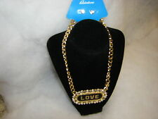 """Earring Set Gold Tone & Black Nwt New 2 Piece """"Love"""" Necklace &"""