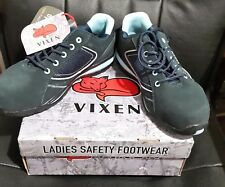 Vixen VX700 Pearl S1P Ladies NAVY ESD Toe Cap Safety Trainers - UK Size 8