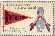 """felt pennant I HAVE LONGED MANY LONGINGS YET IN """"ROCHESTER MN"""" FOR A LETTER 1917"""