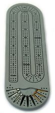 GRAY Solid Corian Cribbage Board 9 Metal Cribbage Pegs