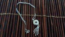 Empowering Jewelry Skeleton Hand Charms Silver Tone Alloy Necklace Indie Punk