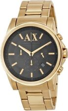 AX Armani Exchange Watch Men's Gold Ion Plated Stainless Steel Bracelet 45mm AX2095