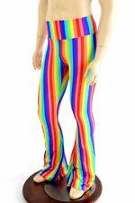 SMALL Mens Rainbow Stripe Bootcut Spandex Gay Pride Festive Pants Ready To Ship!
