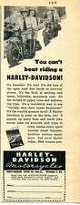 1948 small Print Ad of Harley Davidson Motorcycle you can't beat riding