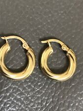 9ct Yellow Gold Hoop Earrings 375 9k Made ITALY Pure Gold NOT FILLED OR PLATE