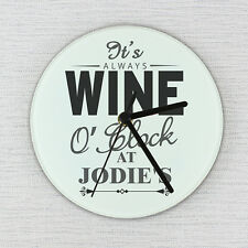 Personalised WINE OCLOCK Glass Clock - New Home, Birthday Gift, For Her
