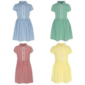 Girls School Dress Gingham Cotton Summer Check Kids