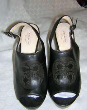 GORGEOUS Black Leather COACH High Wedge Heel Back Strap SANDAL SHOES/HEELS 8