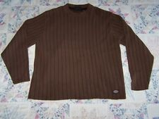 DICKIES mens sweater size L, brown & black striped crewneck, cotton blend