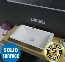 Rectangular Above Counter Solid Surface Stone Wash Basin Glossy White Vanity cou