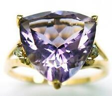 SYJEWELRYEMPIRE 10KT YELLOW GOLD TRILLION AMETHYST & DIAMOND RING SIZE7R1036