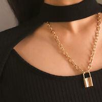 Jewelry Women Punk Choker PadLock Pendant Necklace Long Chain Collar Statement