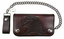 """New Mens Leather 6"""" Antique Embossed American Bald Eagle Chain Wallet USA Made"""
