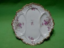 Antique sectional Limoges France plate w/ colorful flowers. Bird & Banners mark