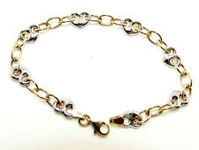 9CT HALLMARKED YELLOW & WHITE GOLD HEARTS LINK BRACELET - 7.5""