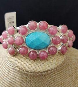 """Natural Rhodochrosite Bracelet Blotter Solide Argent Sterling 925 //// 7.5/"""" //// #633"""