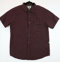 Vissla Mens Size Medium Button Front Short Sleeve Shirt Striped Maroon
