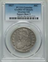 1827 50C Capped Bust Half Dollar Overton 122 (O-122) PCGS VF DETAILS #34343713