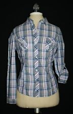 OLD NAVY Woven COTTON Blue MULTI Plaid SHIRT Flap Pocket Medium M 8 10 FITTED