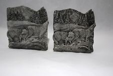 1992 National WildlifeFederation Gray Wolf Pair of Bookends