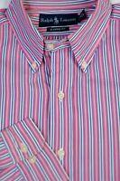 Polo Ralph Lauren Men's Pink Blue White Stripe Cotton Casual Shirt L Large
