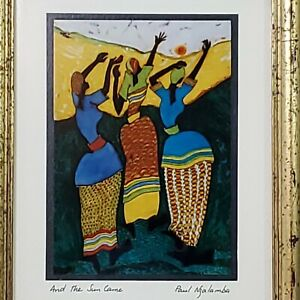 """Paul Nzalamba """" And The Sun Came """"Art Print Signed Matted & Framed 4.75"""" x 3.5"""""""